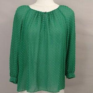 Emerald Silk Blouse Irish Kelly Green Peasant Top